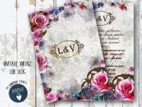 invitatie nunta vintage_ cod 0015