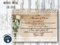 invitatie nunta vintage_ cod 0026